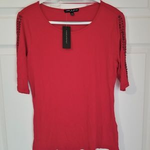 Cable & Gauge Petite Knit Top NWT PL Red